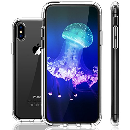 iPhone X Case, LOHASIC Clear Crystal Slim & Thin Fit Protective Hybrid Transparent Hard Scratch Resistant Back Cover Soft Frame Bumper with Air Cushion Shockproof Cases for Apple iPhone X 10-Clear - Transparent Hard Case