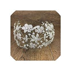 Paved Zirconia Flower Bridal Crown