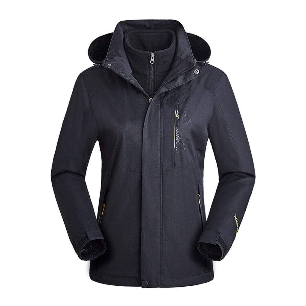HebeTop  Women's Ski Jacket Winter Jacket Waterproof 3 in 1 Mountain Coat Windproof Hooded with Inner Warm Fleece Coat Black by HebeTop➟Men's Clothing