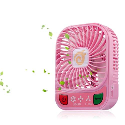 D-FantiX 4-inch Portable Fan 3 Speeds Mini USB Fan Rechargeable Desktop Fan Handheld Fan Battery Operated with LED Light (Pink)