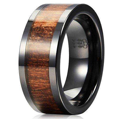 Three Keys Jewelry 8MM 6MM Black Ceramic Wedding Ring with Koa Wood Inlay Flat Wedding Band Ring