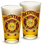 Pint Glasses – Firefighter Gifts for Men or Women – Volunteer Firefighter Beer Glassware – Beer Glasses with Logo – Set of 2 (16 Oz) For Sale