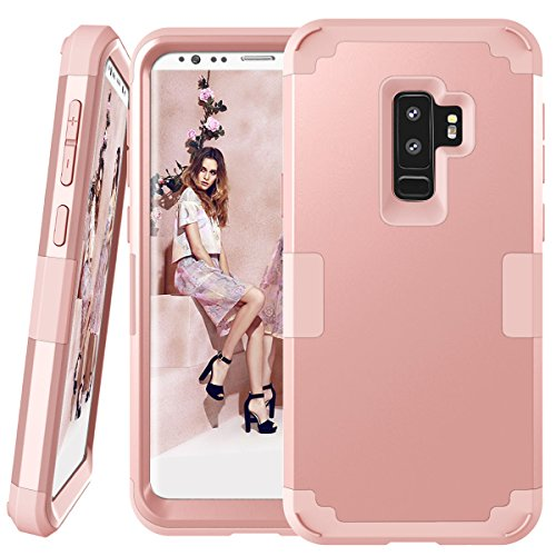 us Case, GPROVA Three Layer Heavy Duty Protection Shockproof Rubber Soft Silicone Bumper Hybrid Armor Defender Cover Case For Samsung Galaxy S9 Plus 6.2'' (2018) (Rose Gold) ()