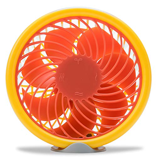 USB Desk Fan With Gravity Sensor To Switch Wind levels,Personal Mini USB Fan 5-Inch Size For Office,Home Bedside Table(Orange Color)