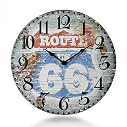 CCYYJJ Wall Clock In Retro Wood Silent Mode Table Suspended Modern Lounge Custom Creative Clock Watches Sharp Select Cargo (Color Size: S, F)