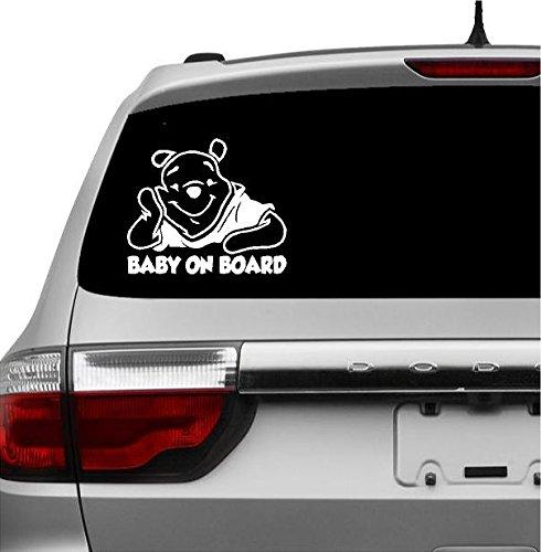 Baby on Board Winnie De Pooh Baby Decal Sticker Vinyl for Car Windows (5.5