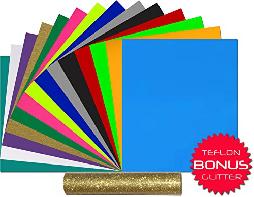 Heat Transfer Vinyl 12 x 10 Inches 15 Sheets 14 PU + BONUS : TEFLON and Glitter EasyWeed Unique and Vibrant Assorted Colors Bundle Iron-On HTV for Cricut Silhouette Cameo Heat Press Machine etc