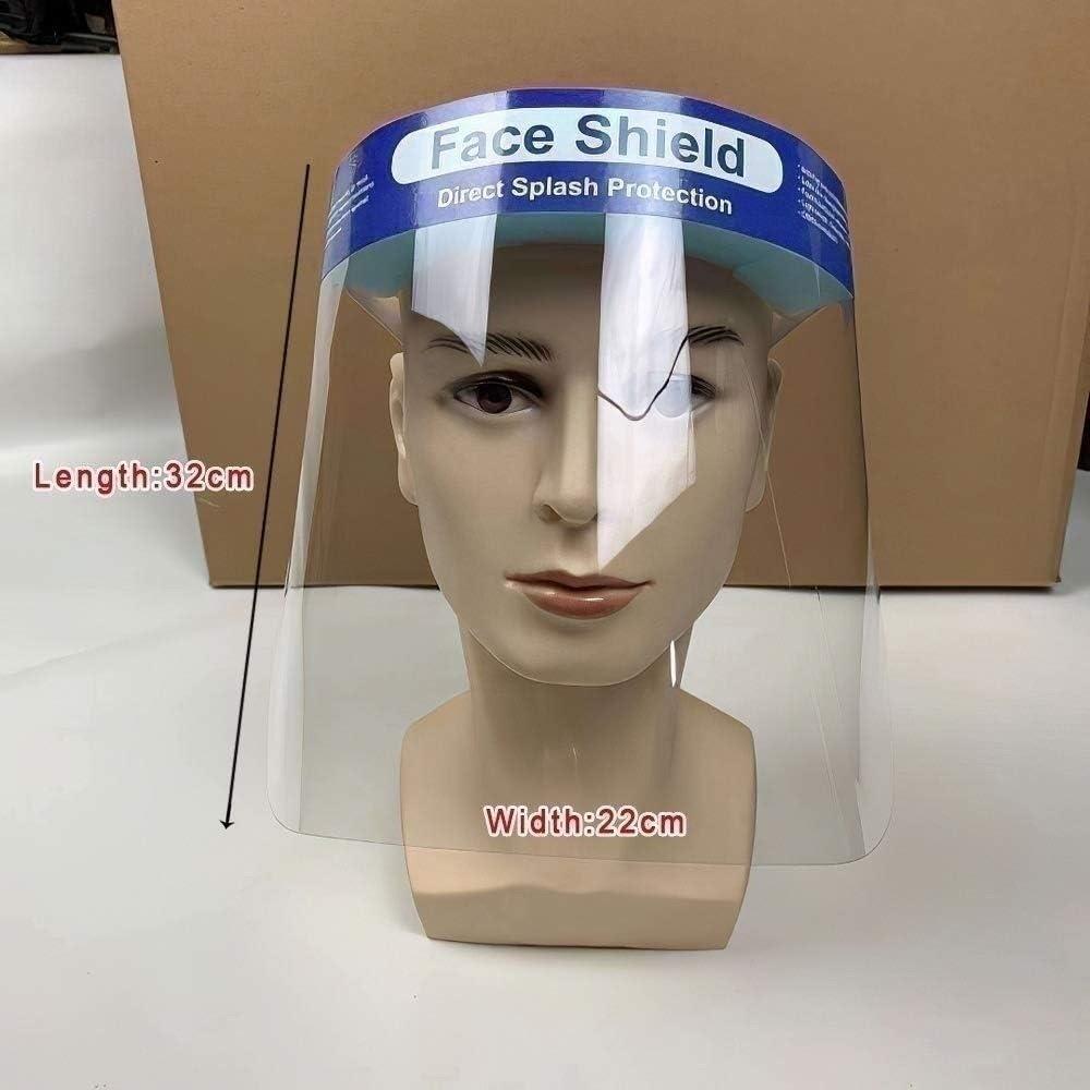 Donnie Timmy - Protector Facial desechable para Proteger los Ojos y la Cara de los peligros de Virus con Banda elástica Protectora Transparente y Esponja de Comodidad (10 Paquetes)