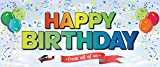 Step and Repeat LA Giant Happy Birthday Banner Heavy-Duty for Indoor or Outdoor Use Roll-Up & Reuse for Many Parties Not Paper or Thin Plastic Vinyl with Grommets, 13 oz