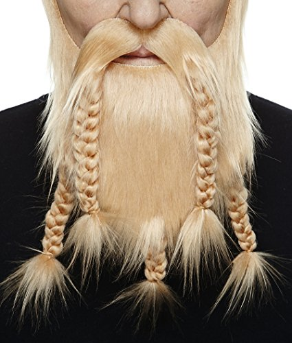 Mustaches Self Adhesive, Novelty, Viking Dwarf Fake Beard, False Facial Hair, Costume Accessory for Adults, Blond Color ()