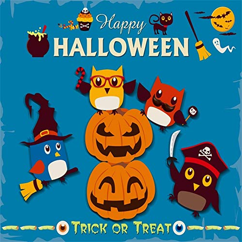 Laeacco 10x10ft Happy Halloween Backdrop Vinyl Trick Or Treat Party Cute Pumpkin Lamps Pirate Witch Owls Scarey Eyeballs Worms Black Cat Cupcake Broom Illustration Blue Background Child Baby Shoot
