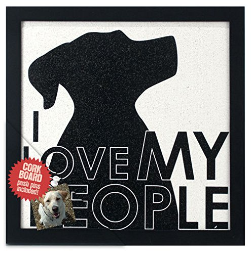 Malden International Designs Modern Graphics I Love My People With Dog Shilouette with Pushpins Wood Corkboard, Black