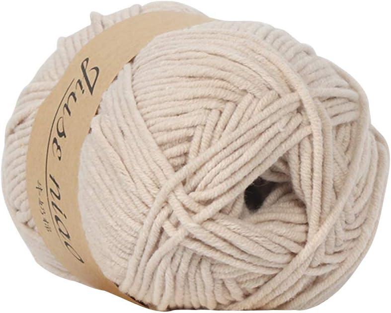 Prosperveil - Ovillo de lana para tejer de punto doble, 50 g, 5 hebras, de algodón suave, para hacer ganchillo, manualidades y manualidades beige