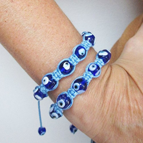 2 Shamballa Disco Ball Bracelet Blue Bead Evil Eye Mati Lucky Hamsa Adjustable