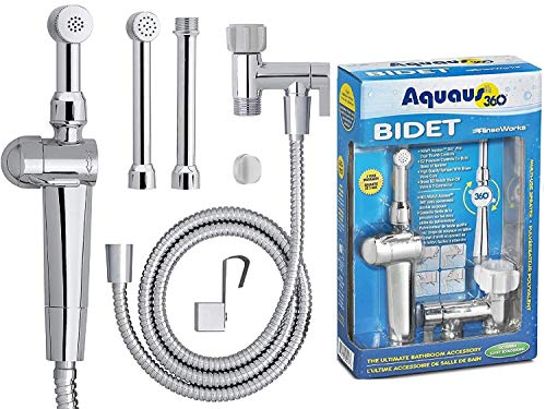 (RinseWorks - Aquaus 360 Patented Hand Held Bidet Sprayer - NSF cUPC Certified for Legal Installation - 2 Backflows - Dual Pressure Controls - StayFlex Hose - 3 to 11 Inch Spray reach - 3 Year Warranty)