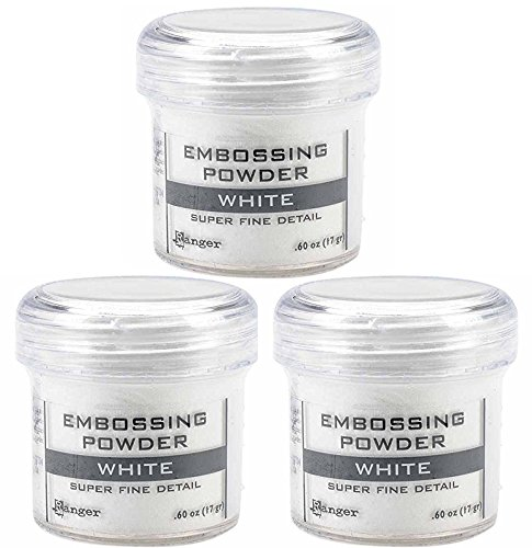 Ranger Embossing Powder White Super Fine Detail .60 oz, 3 Pack by Ranger Ink