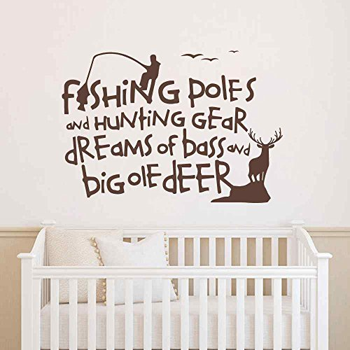 BATTOO Country Wall Decals Quotes Fishing Poles And Hunting Gear Dreams Of Bass And Big Ole Deer Wall Decal Bedroom Nursery Living Room Art Sticker (Dark Brown, 15.5