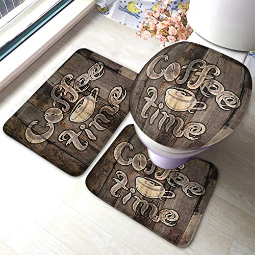 Beabes Coffee Bathroom Mat Grunge Lettering Coffee Time and Coffee Cup Retro Wood Addict Bar Food Not-Slip Toilet Rug Set 3 Piece Bathroom Anti-Skid Pad for Dining Room Polyester