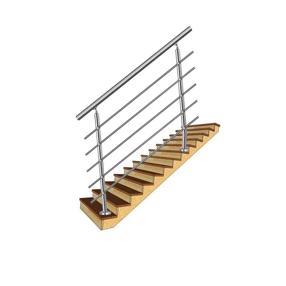 3 poteaux HENGMEI 120cm Rampe descalier Main courante murale Garde-corps en acier inoxydable Baguettes terrasse Kit Escaliers pour les escaliers et marches