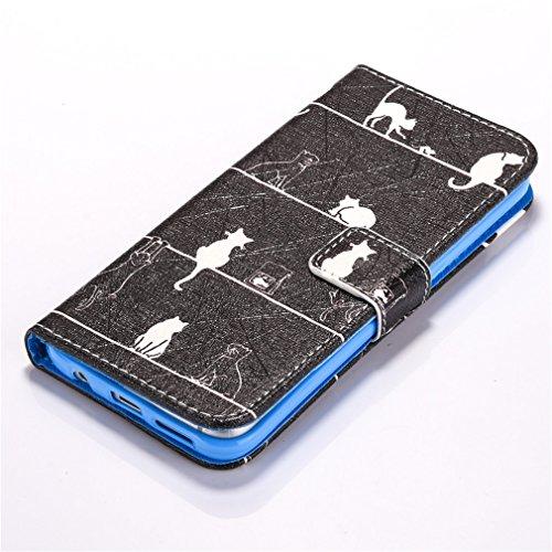 A9H Estilo Libro Funda Samsung Galaxy S7 Carcasa Cuero Tapa Case Cover Universales Cierre Magnético Carcasa Cuero Pu Tapa Bookstyle Cartera Case con Función de Soporte -13HUA 8HUA