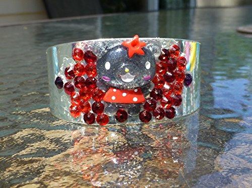 Glittering Kawaii Bear Cuff Bracelet Red and Black Kandi