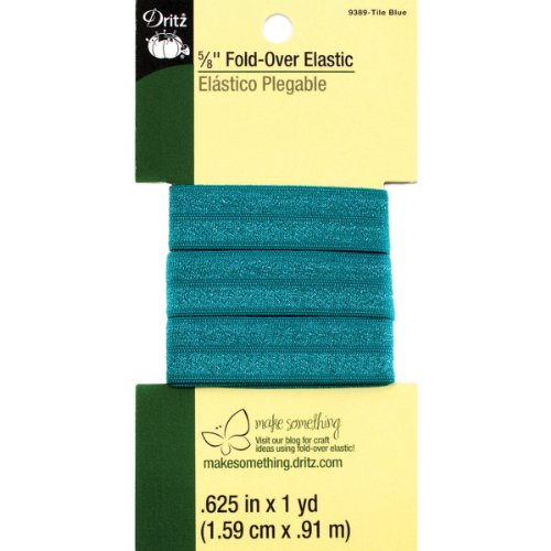 Dritz 9389 Fold-Over Woven Elastic, 5/8-Inch x 1-Yard, Tile Blue ()