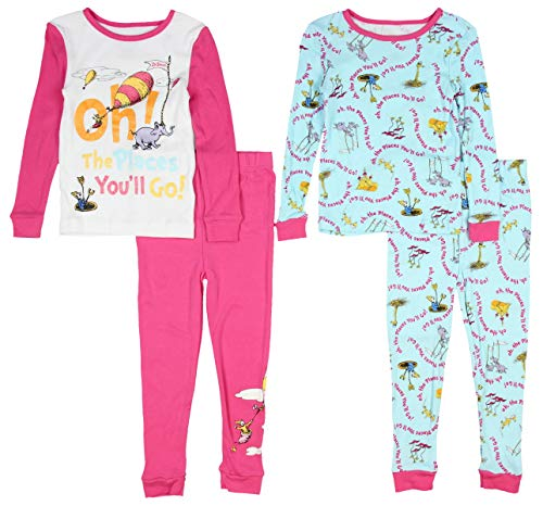 Dr. Seuss Toddler Girls Cotton 4 Piece 2fer Pajamas Set (4T, Pink/Blue)]()