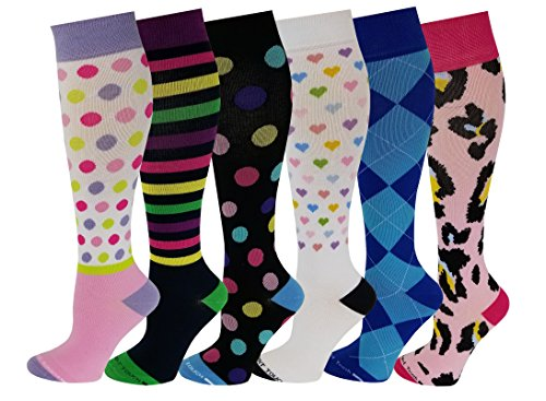 6 Pairs Pack Women Travelers , Anti-Fatigue , Graduated Compression Knee High Socks 9-11 (Assorted Printed #2)