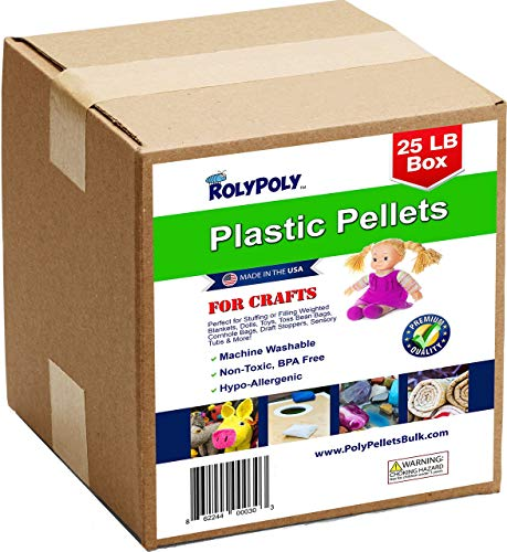 (Plastic Pellets Bulk for Weighted Blankets, Bean Bags Bulk Box (25 pounds) Non-Toxic, Premium Quality Made in the USA for Rock Tumbling, Stuffing & Filling Dolls, Crafts)