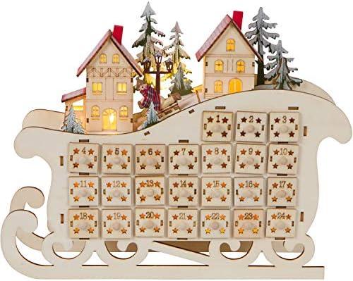 원 홀리데이 웨이 LED 조명 목재 바이에른 썰매 어드밴트 달력 - 24개의 저장 서랍이 있는 크리스마스 장식 / 원 홀리데이 웨이 LED 조명 목재 바이에른 썰매 어드밴트 달력 - 24개의 저장 서랍이 있는 크리스마스 장식