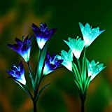 Denknova LED Solar Garden Lights LED Solar Powered Garden Stake Lights Outdoor Path Lights with 8 Lily Flower, Multi color Changing for Garden Patio Backyard, (2 Packs Purple and White)