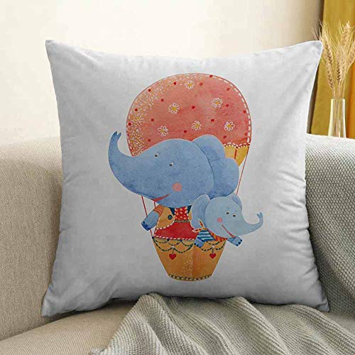 Colorful Printed Custom Pillowcase Mother and Baby Elephants Flying with a Hot Air Balloon Watercolor Cartoon Print Decorative Sofa Hug Pillowcase W18 x L18 Inch Multicolor ()