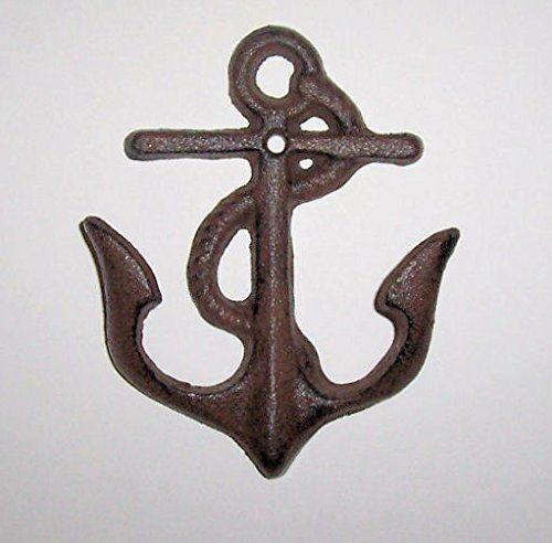 - ABC Products - Heavy Cast Iron Boat Anchor - Double Hook - Anchor Ends Are The Hooks - Wall Hung - ( Rustic Color Finish - Use Indoor Or Outdoor)