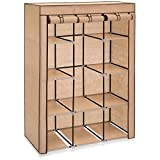 Best Choice Products 10-Shelf Portable Fabric Closet Wardrobe Clothes Storage Rack Organizer w/Cover - Tan