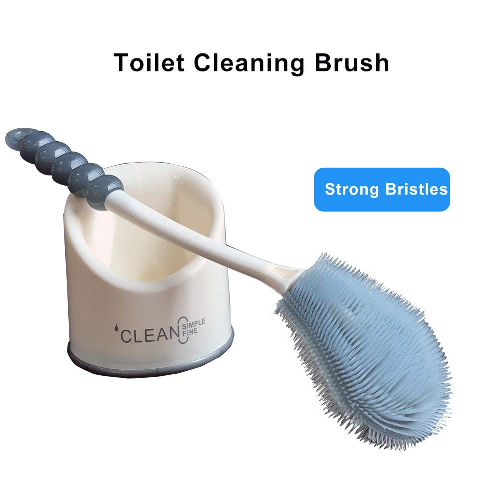 APSPOW Toilet Cleaning Brush with Holder,Toilet Bowl brush Set for Bathroom,Good Grips and Deep Cleaning - Strong Bristles - (1 PACK) (flat)