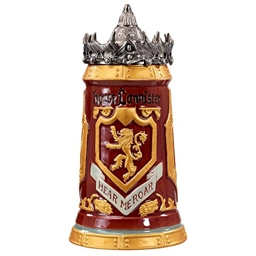 Game of Thrones House Lannister Stein - 22 Ounces Ceramic Base with Pewter Baratheon Crown Top by Game of Thrones