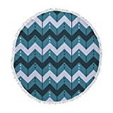 KESS InHouse Nick Atkinson Chevron Dance Blue Round Beach Towel Blanket