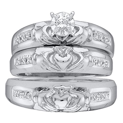 14kt White Gold Trio Set His & Her Rings Diamond Claddagh Matching Bridal Ring Band Set 1/8 Cttw(J-K,I2-I3)