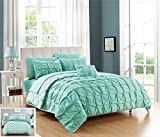Chic Home 3 Piece Zissel Pleated Pintuck and Printed Reversible with Elephant Embroidered Pillow Twin Duvet Cover Set Aqua