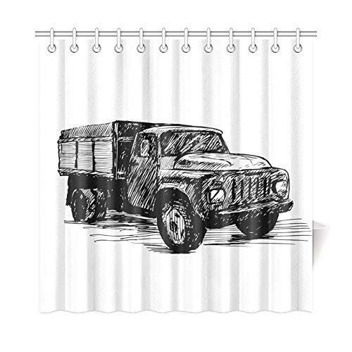 VNASKL Home Decor Curtain Shower Vintage Truck Polyester Fabric Waterproof Anti-Mildew Shower Curtain for Bathroom 7272 Inch with Hooks ()