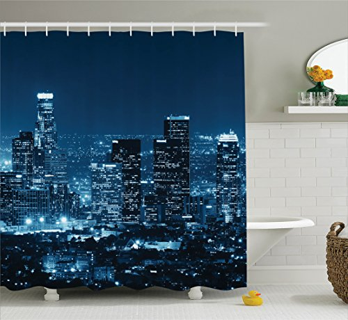 Ambesonne Apartment Decor Collection, Los Angeles Buildings at Night Monochromatic Photo Scenery Town Dusk Scenic, Polyester Fabric Bathroom Shower Curtain Set with Hooks, Dark Teal Navy - Broadway Pictures Beach At The