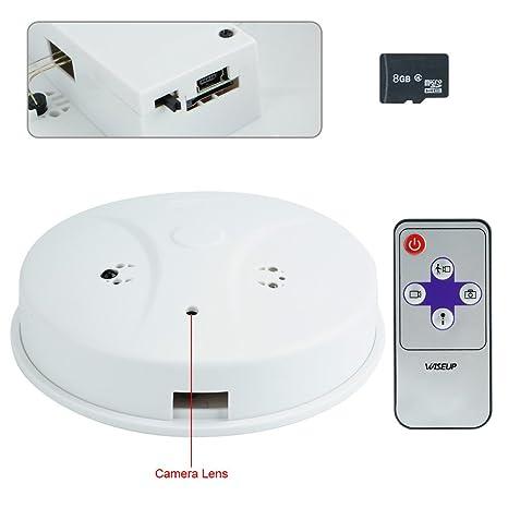 Wiseup 8 GB 1280 x 720 HD microcamere espía Detector de humo movimiento attivato DVR de