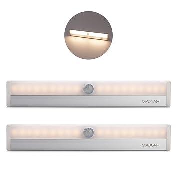9bf603b2775 MAXAH 2 x Luces Nocturnas con Sensor Barra de Luz LED Lámpara LED para  Closet Gabinete Armario Escalera luz de La Noche