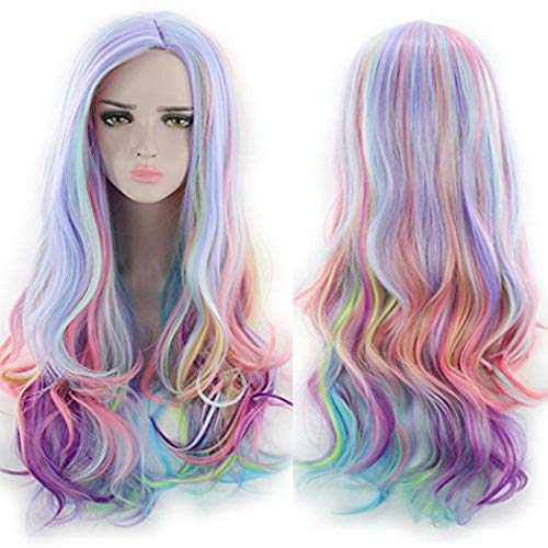 TANTAKO Women Long Wavy Multi-colored Rainbow Cosplay Wig