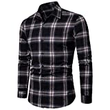 NUWFOR Men's Long Sleeve Lattice Plaid Painting Large Size Casual Top Blouse Shirts(Black,XL US/XL AS Bust:43.2'')