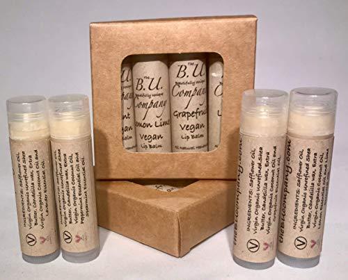 All Natural Vegan Lip Balm Variety Pack - Lavender, Lemon Lime, Mint, Grapefruit - All Natural Handmade - BU Company - 4 pack