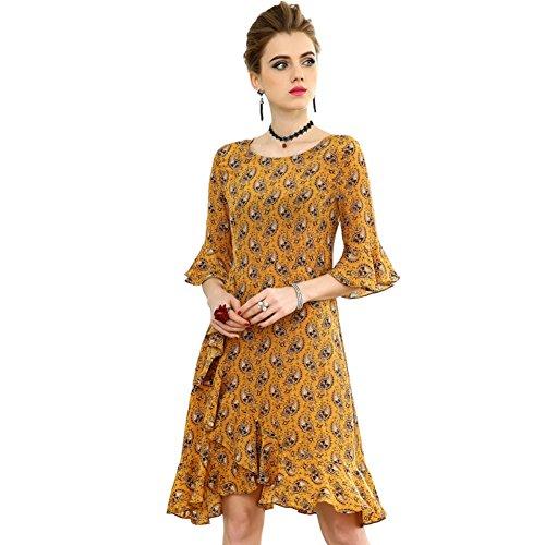Cotylédons Women`s Robes Décontractées Hérissent Costume Robe Imprimée Couleur Unie Col Rond Manches Pour L'automne Au Printemps Jaune