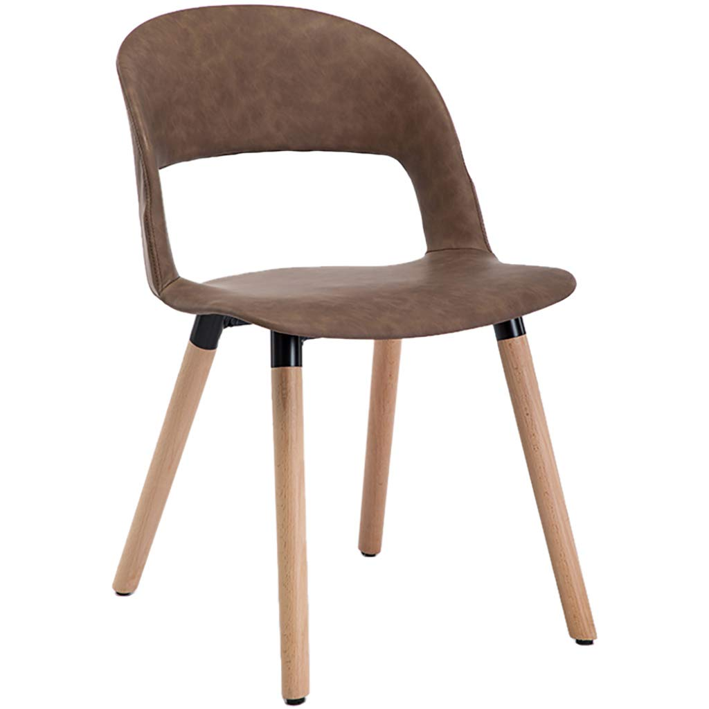 Brown Nordic Creative Solid Wood Dining Chair, Casual Coffee Chair, Leather Seat Cushion, Ergonomic Design, Strong Load-Bearing Capacity, for Restaurant Office Counter Family