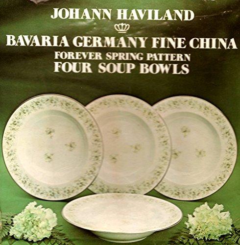 Johann Haviland Bavaria Germany Fine China Soup Bowls: Forever Spring Pattern, Set of 4 - Bavaria Soup