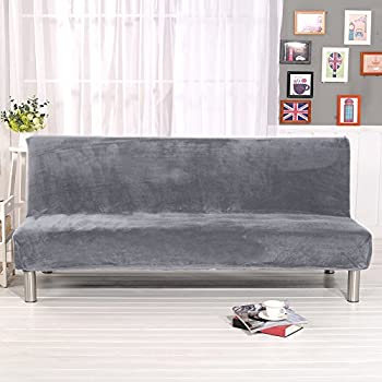 Younar Silver Grey Armless Futon Cover Sofa Bed Cover Full Size Thicker Plush Sofa Cover Protector Sofa Slipcover (Silver Gray)